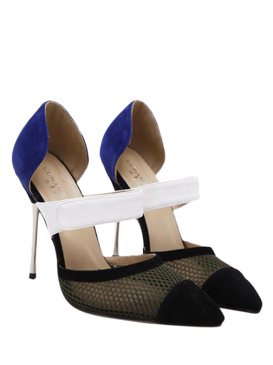 latest Mesh Pointed Toe Color Block Pumps - BLUE 37