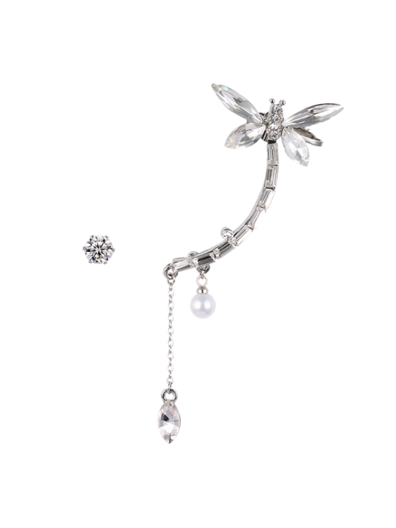 trendy Dragonfly Ear Cuff and Rhinestone Earring - SILVER