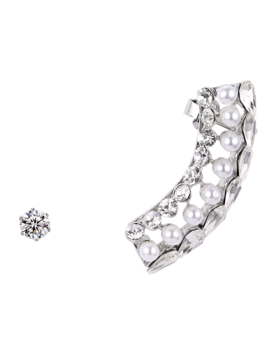 Faux Crystal Pearl Ear Cuff - Prateado