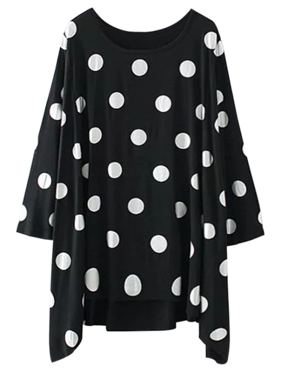 sale Baggy Polka Dot Blouse - BLACK M