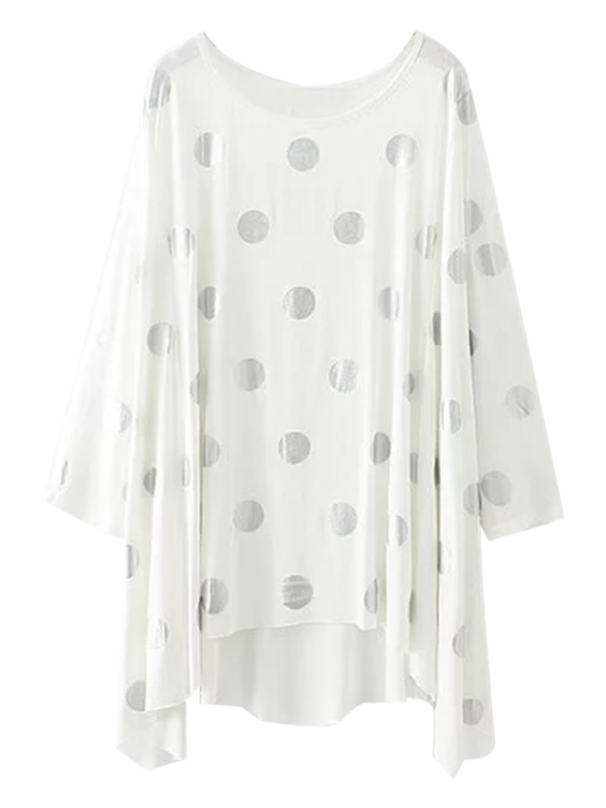 women Baggy Polka Dot Blouse - WHITE S