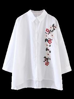Chemisier à Coupe Haut Bas Avec Broderie Florale - Blanc M