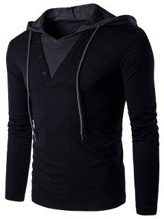 Color Block Panel Hooded Long Sleeve T-Shirt - Black S