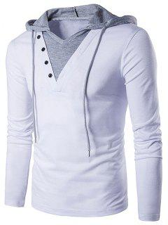 Color Block Panel Hooded Long Sleeve T-Shirt - White Xl