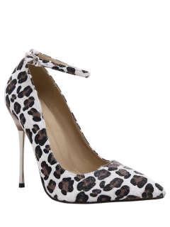 Pointed Toe Leopard Print Ankle Strap Pumps - Leopard 40