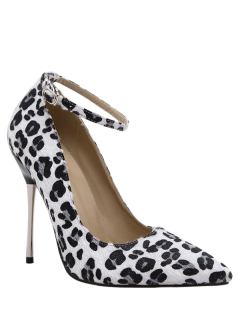Pointed Toe Leopard Print Ankle Strap Pumps - Black 40