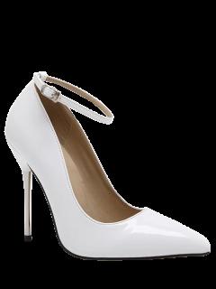 Ankle Strap Stiletto Heel Patent Leather Pumps - White 40