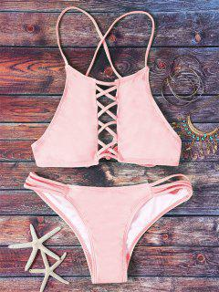 Pink Hollow Out Halter Bikini Set - Pink L