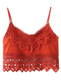 Cami Lace Insert Tank Top - Red S