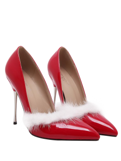 Faux Fur Pointed Toe Stiletto Heel Pumps - Red 40