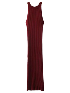 Robe Ajustée Côtelée Fendue Sans Manches  - Bourgogne