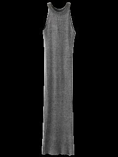 Hendidura Sin Mangas Vestido De Punto Acanalado - Gris