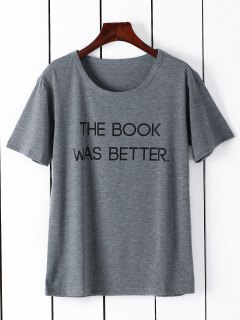 Short Sleeve Letter Graphic Tee - Gray S