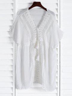 Plunging Neck Hollow Drawstring Waist Cover-Up - White
