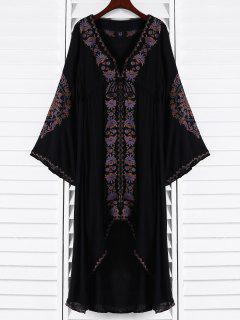 Embroidered High-Low Maxi Dress - Black S