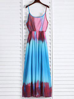 Spaghetti Strap Colorful Maxi Dress - Azure Xl