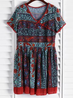 Vintage Floral Short Sleeve Flare Dress - L