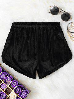 Velvet Elastic Waist Shorts - Black S