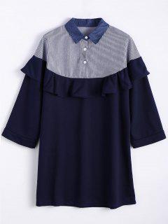 Mini Robe Droite Surdimensionnée  à Volants - Bleu Violet