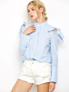 Striped Stand Neck Bowknot Shirt - Stripe S