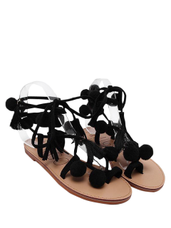 Lace Up Tassels Pompon Sandals - Black 40