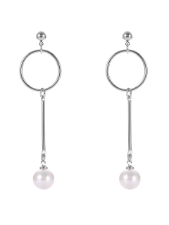 Fake Pearl Circle Drop Earrings - Silver