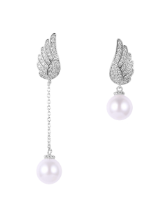 Fake Pearl Wing Asymmetric Earrings - Silver