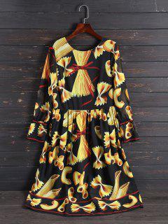 Imprimir Vestido Largo De La Manga De La Vendimia - Xl