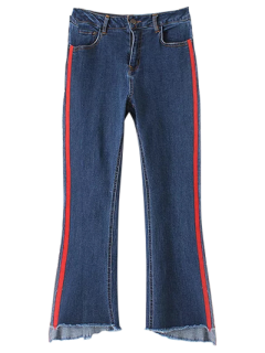 Jeans à Arrêts Patchés Et Jambes évasées - Bleu L