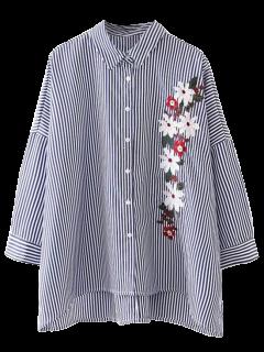 Alta Camisa Bordada Bajo Rayado - Raya S