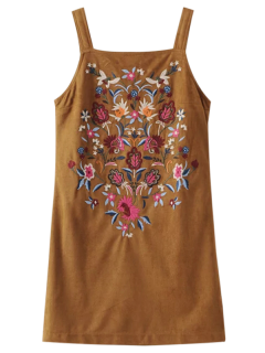 Faux Suede Embroidered Mini Dress - Brown M