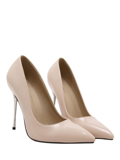 Stiletto Heel Patent Leather Pointed Toe Pumps - Apricot 38