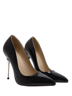 Stiletto Heel Patent Leather Pointed Toe Pumps - Black 37