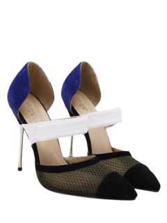 Mesh Pointed Toe Color Block Pumps - Blue 40