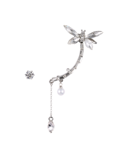 Dragonfly Ear Cuff And Rhinestone Earring - Silver