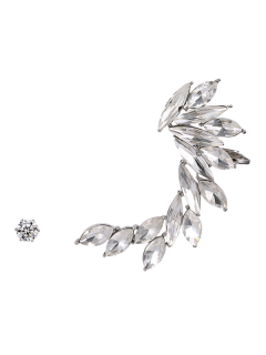 Leaf Ear Cuff And Stud Earring - Silver