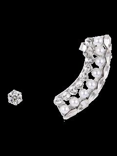 Faux Pearl Crystal Ear Cuff - Silver