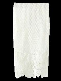 Häkelspitze Bleistiftrock - Weiß S