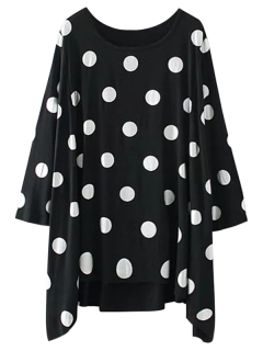 Baggy Polka Dot Blouse - Black S