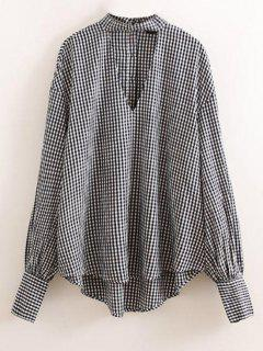 Checked Choker Top - Blue And White M
