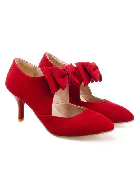 latest Bowknot Pointed Toe Suede Pumps - RED 38 Mobile