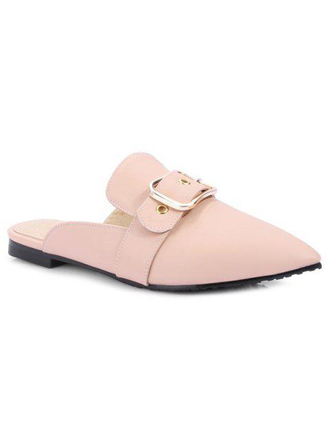 sale Belt Buckle Flat Heel Slippers - PINK 39 Mobile