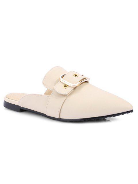 affordable Belt Buckle Flat Heel Slippers - OFF-WHITE 39 Mobile