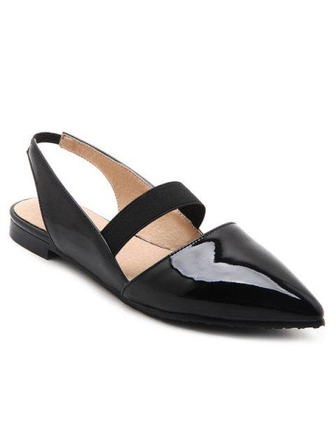 new Patent Leather Slingback Flat Shoes - BLACK 37 Mobile