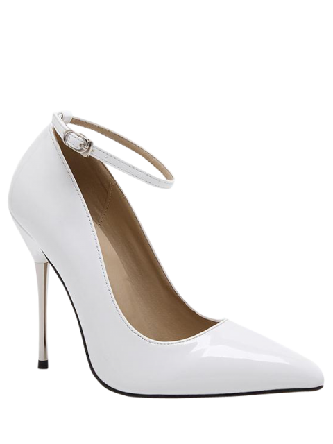 shops Ankle Strap Stiletto Heel Patent Leather Pumps - WHITE 40 Mobile
