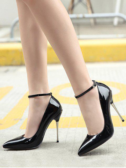 new Ankle Strap Stiletto Heel Patent Leather Pumps - BLACK 39 Mobile