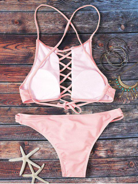 new Pink Hollow Out Halter Bikini Set - PINK M Mobile
