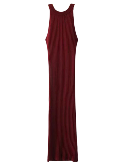 trendy Slit Sleeveless Ribbed Bodycon Dress - BURGUNDY ONE SIZE Mobile