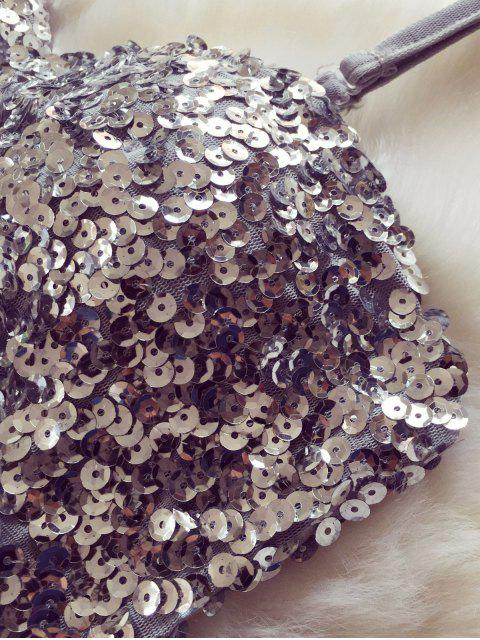online Mini Slip Sequins Dress - SILVER ONE SIZE(FIT SIZE XS TO M) Mobile