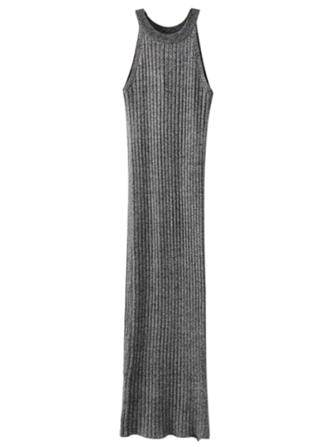 Slit ärmel Gerippte Strickkleid - Grau Eine Größe Mobile